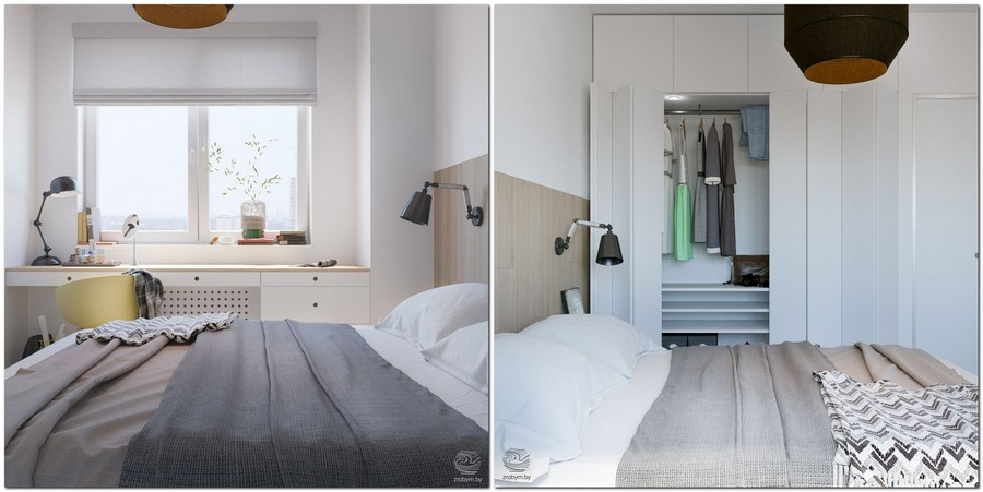 4-contemporary-style-small-bedroom-interior-design-white-walls-built-in-closet-with-folding-door-countertop-windowsill-desk-dressing-table-light-laminate-headboard-gray-bed-cover