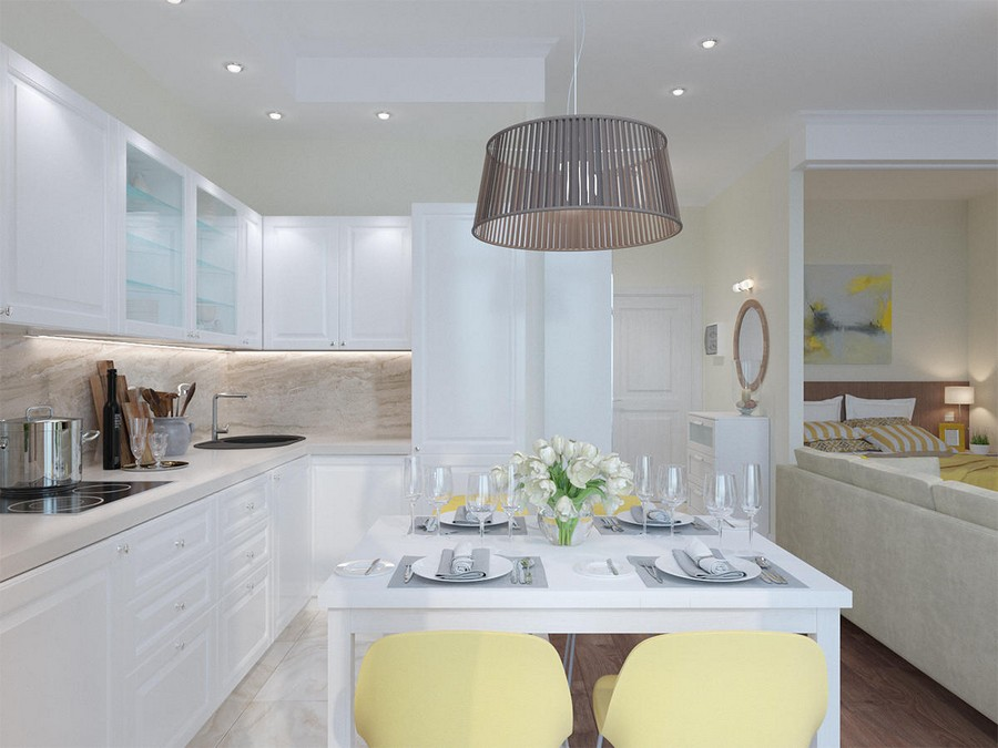 4-white-beige-yellow-light-contemporary-style-studio-apartment-interior-kitchen-set-backsplash-faux-natural-stone-tiles-wooden-floor-entry-zone-sleeping-area-big-lamp-table-chairs-dining-set