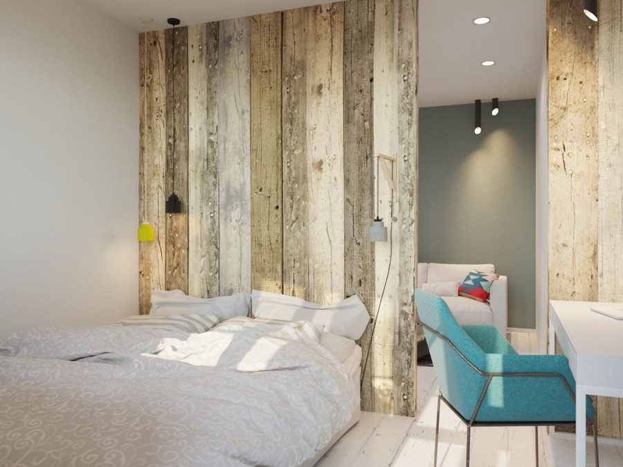 4-work-area-zone-study-desk-in-the-bedroom-interior-blue-chair-white-walls-timber-wall-log-partition-small-room-eco-style-suspended-lamps-spot-lights-lounge