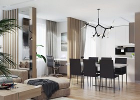 5-1-contemporary-style-interior-design-open-concept-living-dining-room-work-area-study-kitchen-beige-light-wood-strip-partition-black-chairs-white-walls