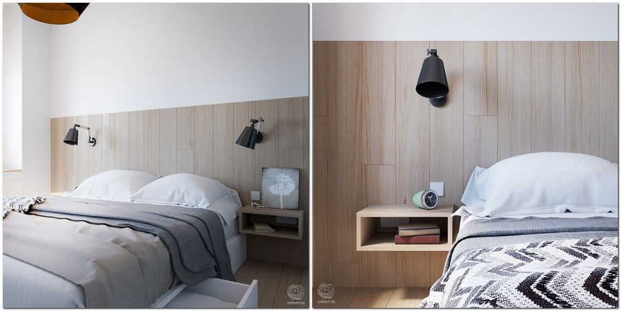 5-contemporary-style-small-bedroom-interior-design-white-walls-light-laminate-headboard-gray-bed-cover-black-wall-lamps-wall-mounted-dressing-table-open-rack