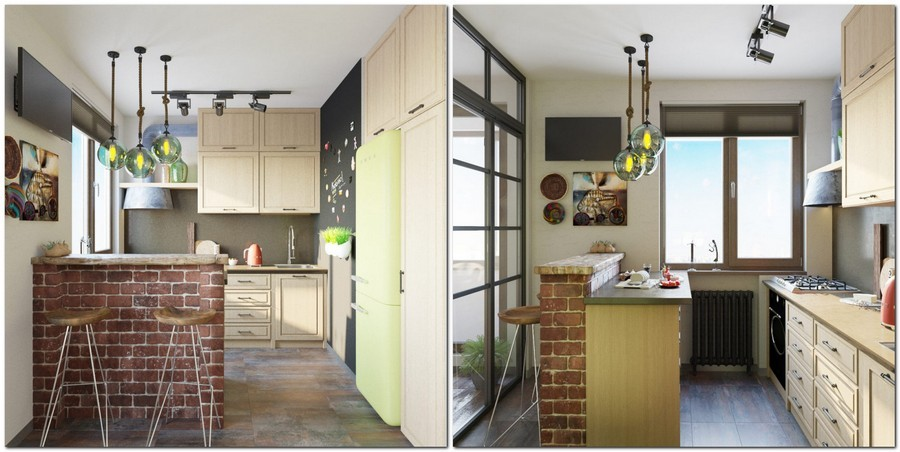 5-loft-style-kitchen-interior-glass-wall-door-partition-island-drawers-MDF-cabinets-group-of-lamps-green-retro-refrigerator-fridge-SMEG-magnetic-chalkboard-wall-paint-masonry-bar-brick-table-stools-track-lights