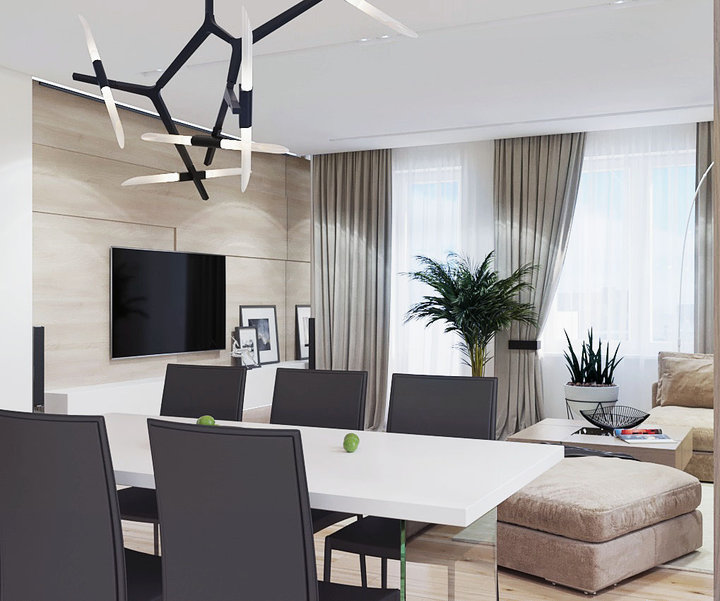 6-1-contemporary-style-interior-design-open-concept-living-dining-room-home-cinema-TV-set-beige-modular-sofa-black-chairs-white-table-green-plants
