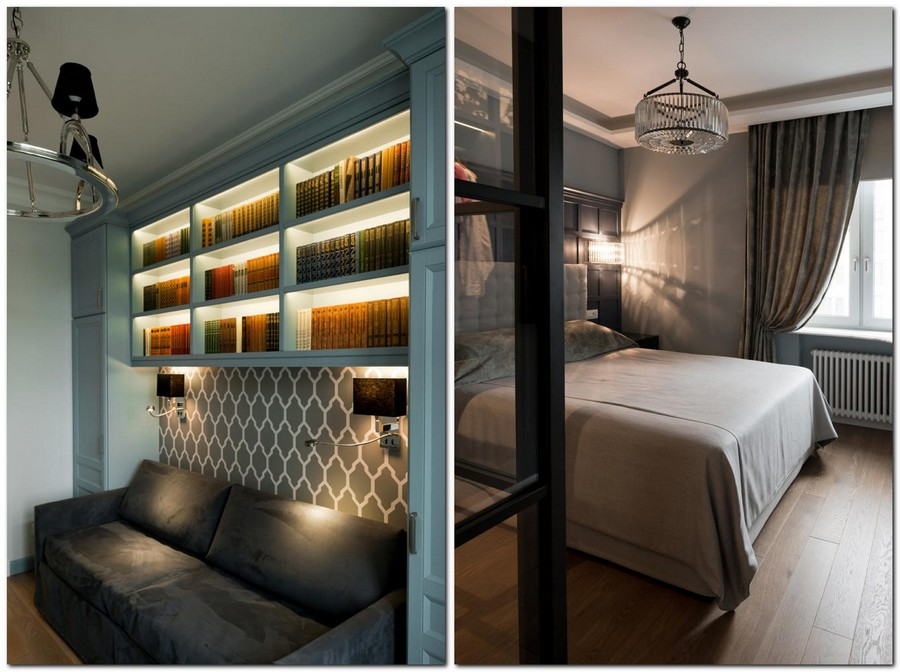 6-2-American-style-interior-wooden-wall-panelling-built-in-closets-blue-home-library-gray-wallpaper-sofa-backlights-sconces-bedroom-upholstered-bed