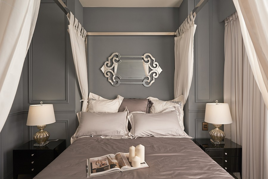 6-2-neo-classical-contemporary-style-interior-gray-and-white-bedroom-canopy-bed-wall-panels-moldings-glossy-mirrored-nightstands-mirror-bedside-lamps-pillows