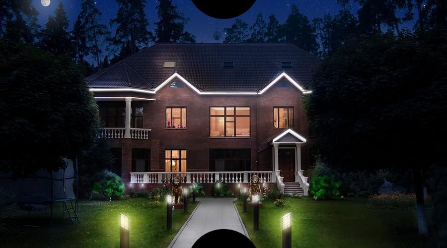 6-3-outdoor-garden-landscape-lighting-ideas-house-illumination-mini-lamp-posts-architectural-LED-strip-lights-cornices-lion-sculptures-statues