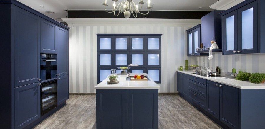 6-Nolte-Germany-smoky-blue-kitchen-cabinets-set-interior-traditional-classical-style-island-gray-floor-tiles-backsplash-faux-window-glass-cabinets-stripy-wallpaper-soild-wood