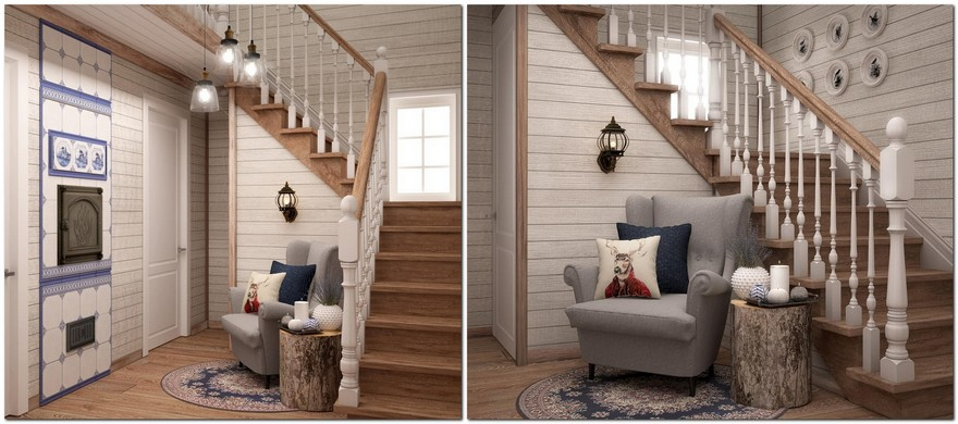 6-neutral-Scandinavian-style-interior-log-timber-house-wooden-walls-ceiling-beams-lining-boards-hall-hallway-by-the-staircase-small-lounge-cozy-nook-gray-arm-chair-stum-coffee-table-English-blue-tiles-stove-white