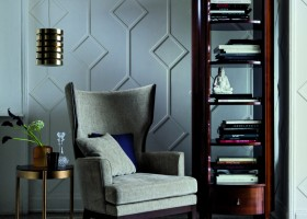 7-art-deco-style-furniture-in-interior-design-arm-chair-with-ears-gray-brown-bookstand-bookcase-decor-brass-details-suspended-lamp-small-coffee-table-3D-wall-Philipp-Selva