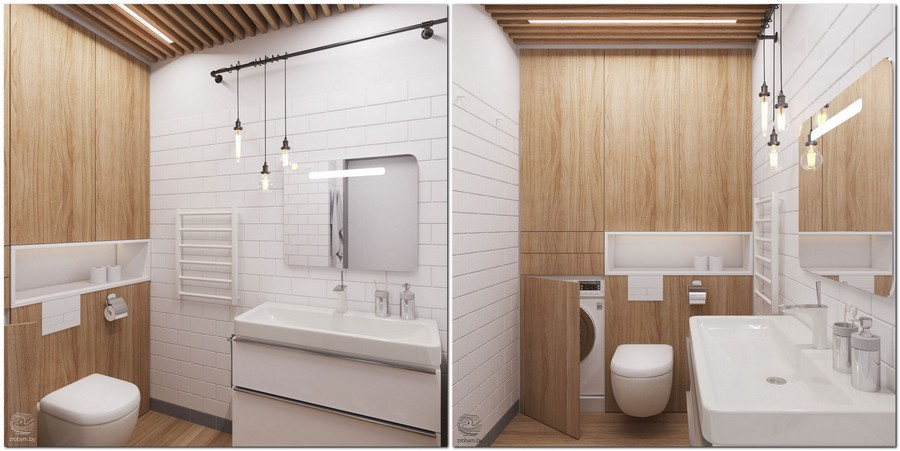 7-contemporary-style-bathroom-interior-design-white-brick-tiles-light-wood-wall-ceiling-strips-decor-concealed-washing-machine-laundry-loft-lamps-recess-storage-wash-basin-railing