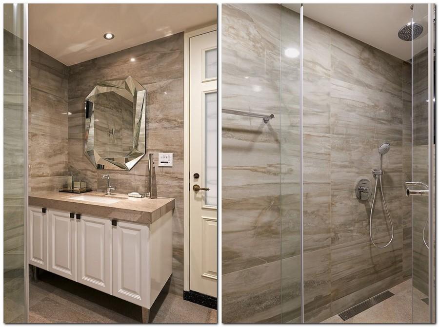 7-contemporary-style-interior-bathroom-greige-gray-beige-white-floor-wall-tiles-glass-shower-cabin-wash-basin-cabinet-stone-countertop-big-mirror