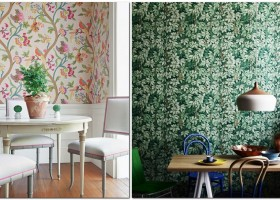 7-kitchen-wallpaper-wall-covering-ideas-in-interior-design-bird-motifs-floral-pattern-organic-green-leaves-wall-panelling-wooden-panels-white-dining-table-chairs
