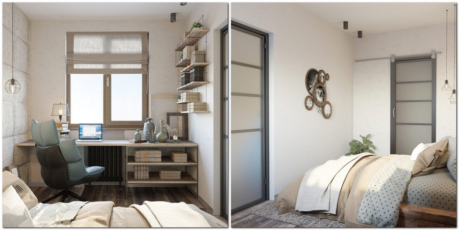 7-loft-style-interior-bedroom-work-area-desk-by-the-window-blue-chair-book-shelves-wooden-bed-cog-shaped-photo-frames-creative-sackcloth-upholstered-textile-fabric-wall-bulbs-wires