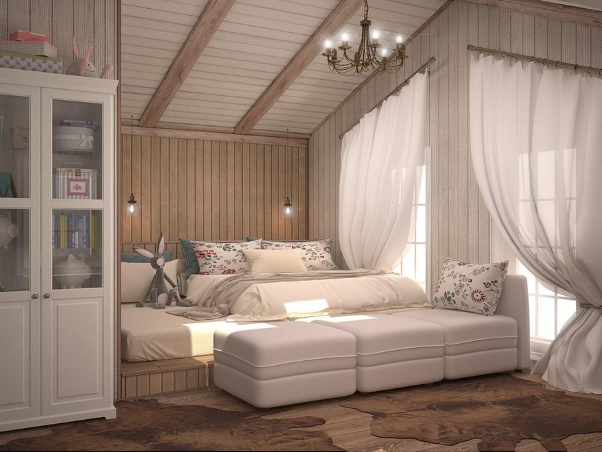 7-neutral-Scandinavian-style-interior-log-timber-house-wooden-walls-ceiling-beams-lining-boards-attic-bedroom-podium-stacked-mattresses-cupboard-sloped-ceiling-windows-blue-accents
