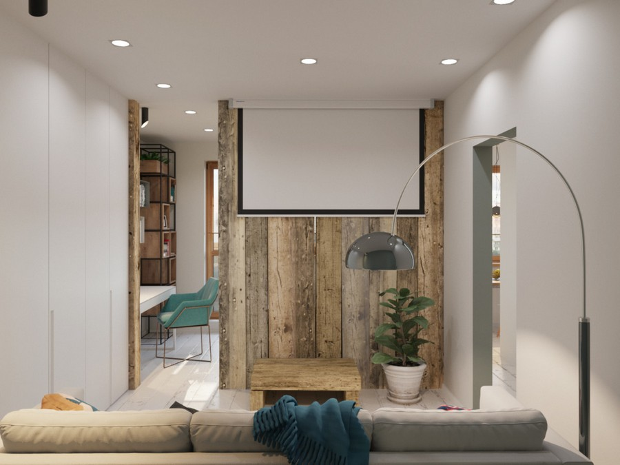 7-white-and-gray-walls-windowless-lounge-living-room-interior-design-couch-sofa-blue-blanket-floor-lamp-contemporary-style-spot-lights-wooden-coffee-table-rug-white-floor-projector-screen-timber-log-wall-partition