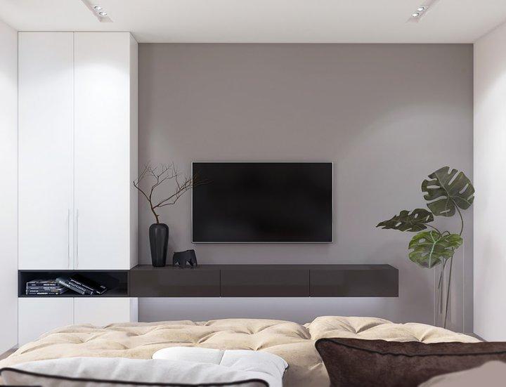 8-2-contemporary-style-interior-design-bedroom-tall-narrow-cabinet-wardrobe-storage-brown-console-TV-set-indoor-plants