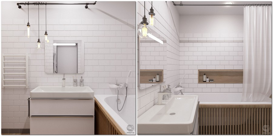 8-contemporary-style-bathroom-interior-design-white-brick-tiles-light-wood-strips-bathtub-screen-decor-loft-lamps-bulbs-wires-recess-storage-wash-basin-exposed-pipe-curtain-rod