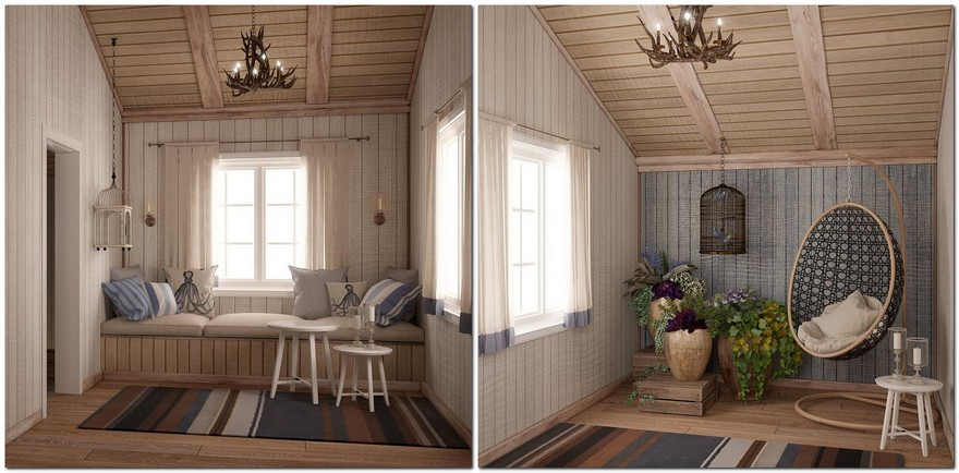 8-neutral-Scandinavian-style-interior-log-timber-house-wooden-walls-ceiling-beams-lining-boards-small-lounge-zone-suspended-hanging-bubble-chair-blue-flower-pots-bench-window-sill-seating-pillows-sloped-ceiling
