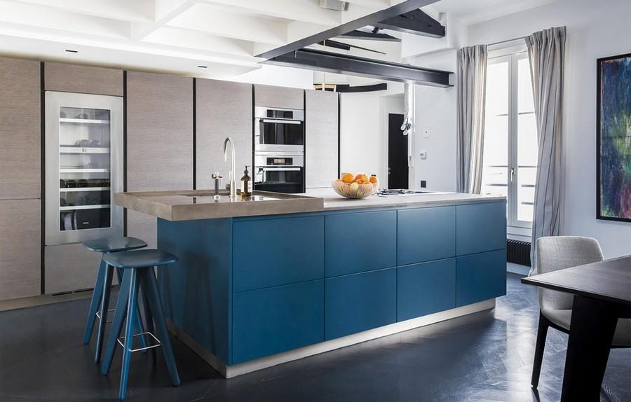 9-Varenna-Italy-blue-kitchen-cabinets-set-interior-matte-blue-island-bar-stools-sleek-push-to-open-cabinets-minimalism-style