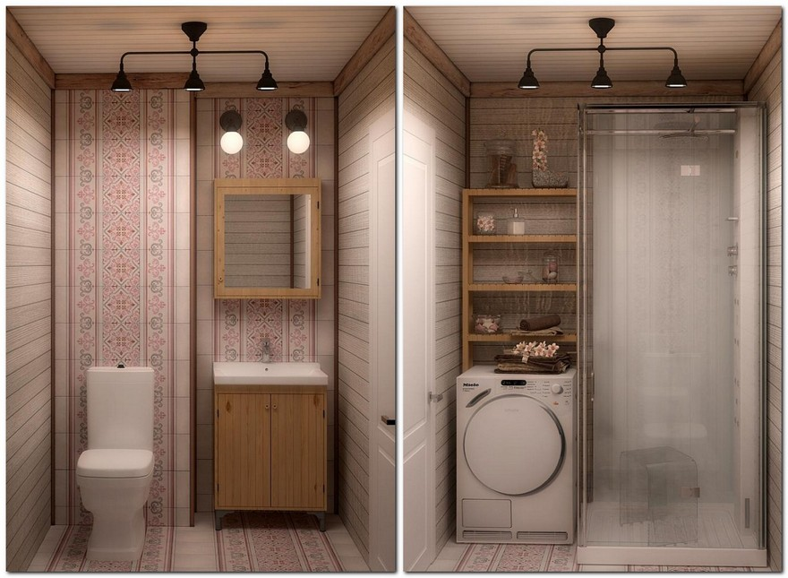 9-neutral-Scandinavian-style-interior-log-timber-house-wooden-walls-ceiling-beams-lining-boards-bathroom-rustic-motifs-tiles-wooden-wash-basin-cabinet-mirror-frame-open-racks-laundry-shower-cabin