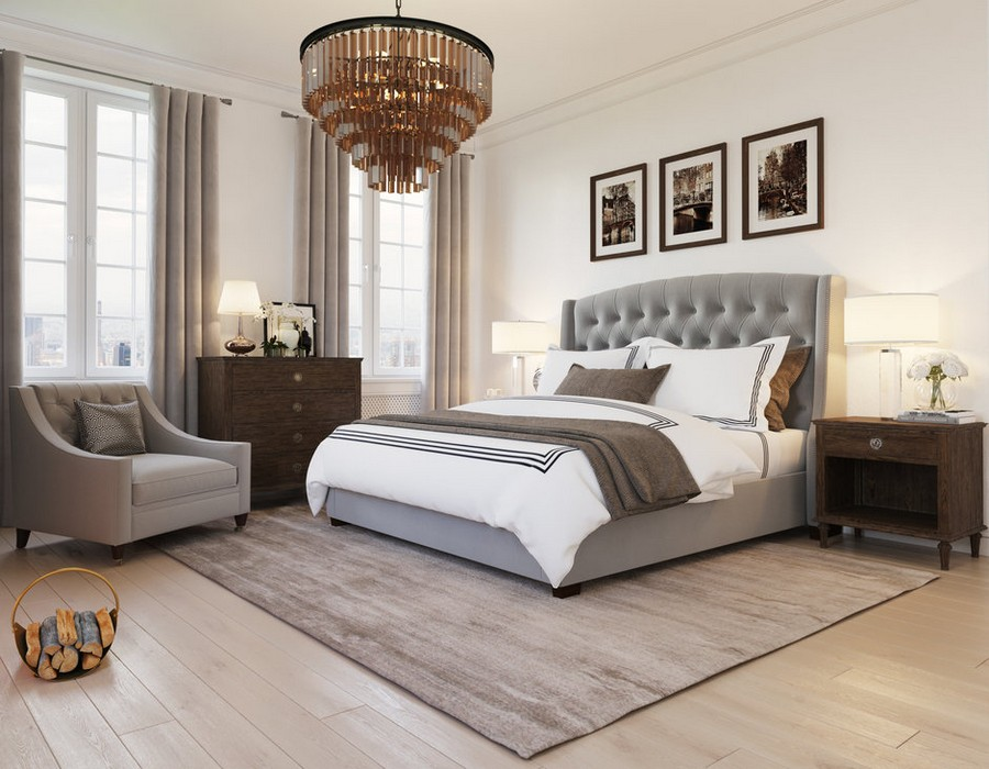 0-gray-beige-dark-brown-bedroom-interior-design-in-American-transitional-style-multilayered-chandelier-symmetrical-furniture-arrangement-chest-of-drawers-arm-chair-nightstands-upholstered-bed-capitone-curtains