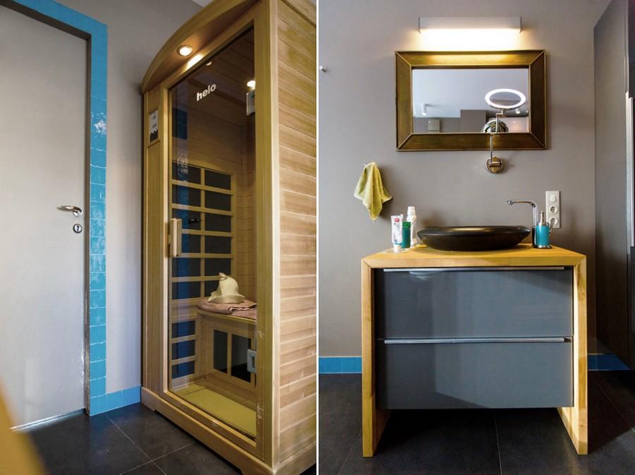 0-modern-bathroom-interior-design-with-walk-in-infrared-home-sauna-wooden-cabin-painted-gray-door-IKEA-vanity-unit-with-wooden-countertop-black-drop-shaped-natural-basalt-sink-wash-basin-rectangular-mirror-azure-blue-tiles