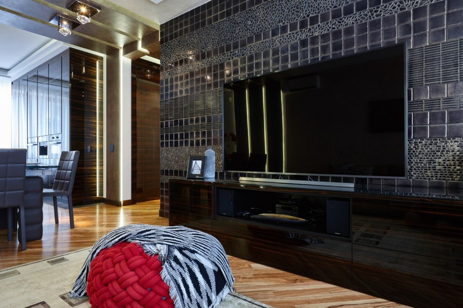 1-3-contemporary-style-interior-design-open-concept-living-dining-room-dark-chocolate-brown-wooden-furniture-light-floor-red-accents-hand-made-wall-tiles-by-Franco-Pesshioli-rug-TV-set-stand-polished-glossy-wooden