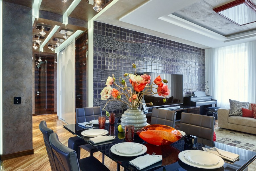 1-5-contemporary-style-interior-design-open-concept-dining-living-room-table-chair-dark-chocolate-brown-furniture-Franco-Pesshioli-wall-tiles-TV-set-stand-light-beige-sofa-flowers-multilevel-ceiling