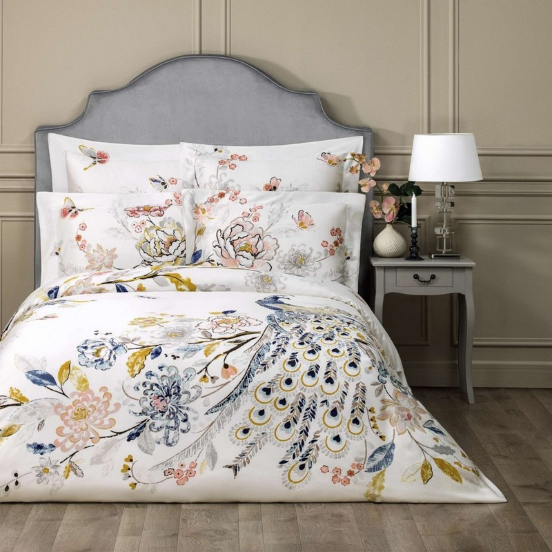 1-Togas-Greece-peacock-white-blue-yellow-pink-bed-linen-set-bedclothes-summer-collection-2017