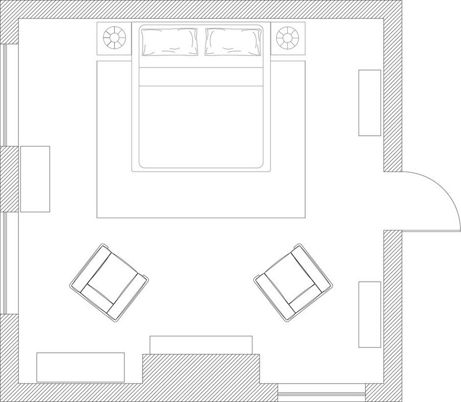 1-bedroom-interior-plan-25-square-meters-layout-scheme-symmetrical-furniture-arrangement-fireplace-console-chest-of-drawers-two-arm-chairs-nightstands-bed-rug-bookcase-three-windows