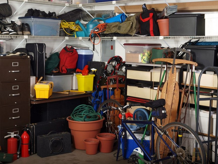 1-cluttered-garage-storage-garden-tools-winter-stuff-chest-of-drawers