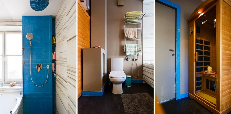 1-modern-bathroom-interior-design-with-walk-in-infrared-home-sauna-painted-gray-door-walls-azure-blue-tiles-shower-cabin-white-faux-marble-wall-tiles-toilet-towel-racks-recessed-shelves