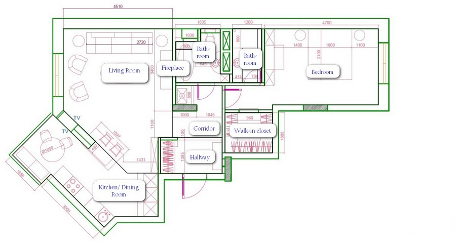 1-two-room-apartment-plan-scheme-layout-with-furniture-arrangement-irregular-shape-angled-wall-45-degrees-two-bathrooms