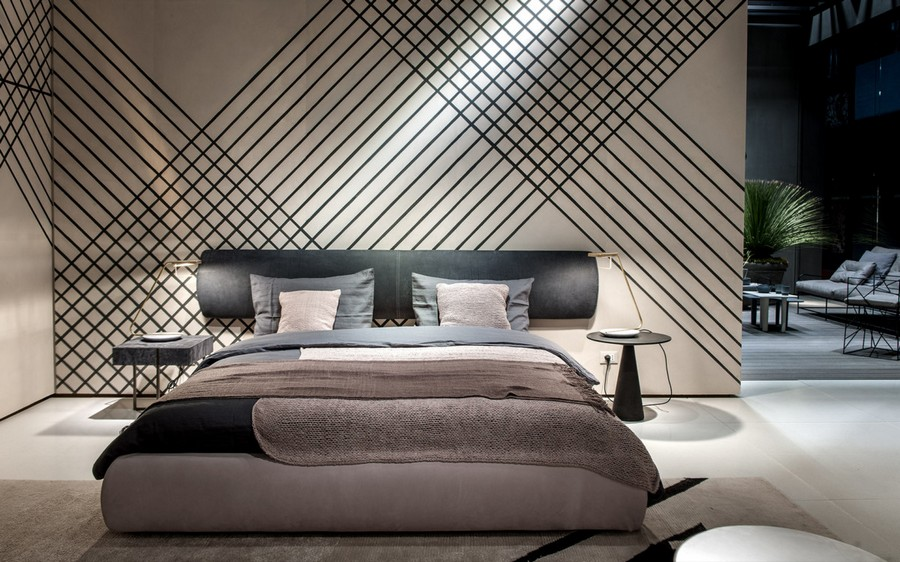 10-4-Baxter-new-collection-of-contemporary-style-furniture-at-Salone-de-Mobile-Exhibition-Milan-2017-gray-upholstered-bed-with-extended-headboard