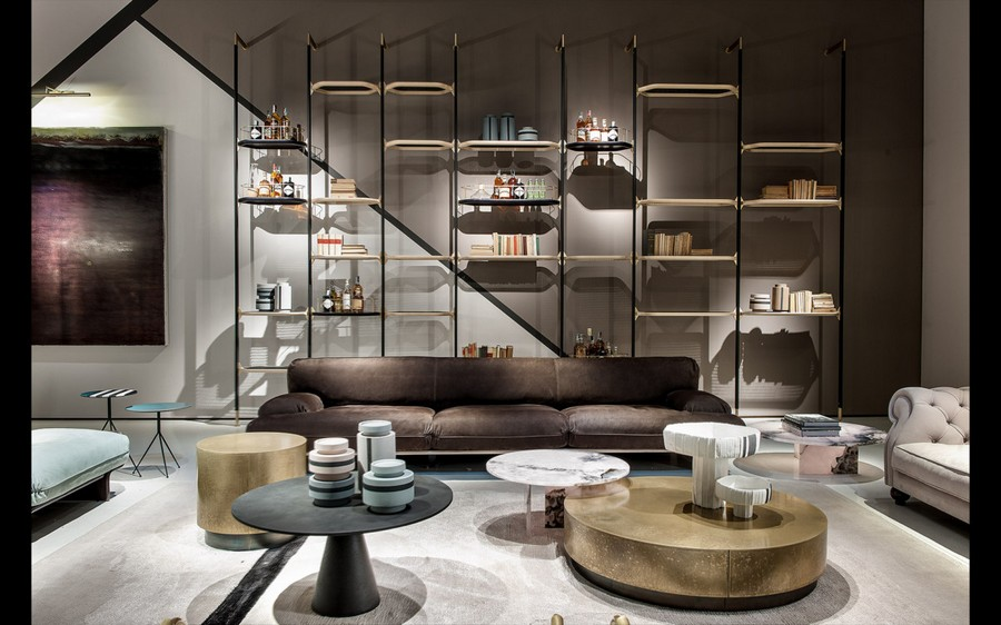 10-5-Baxter-new-collection-of-contemporary-style-furniture-at-Salone-de-Mobile-Exhibition-Milan-2017-brown-sofa-rug-coffee-tables-bookshelves