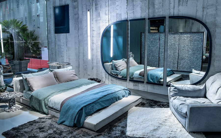 10-7-Baxter-new-collection-of-contemporary-style-furniture-at-Salone-de-Mobile-Exhibition-Milan-2017-gray-blue-bedroom-interior-design-cozy-rug-bed-arm-chair-oval-mirror-split