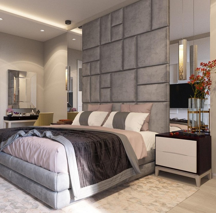 10-bedroom-interior-design-contemporary-style-upholstered-ceiling-to-floor-headboard-modular-bed-nightstands-mirror-wall-panels-dressing-table-gray-and-beige-rug