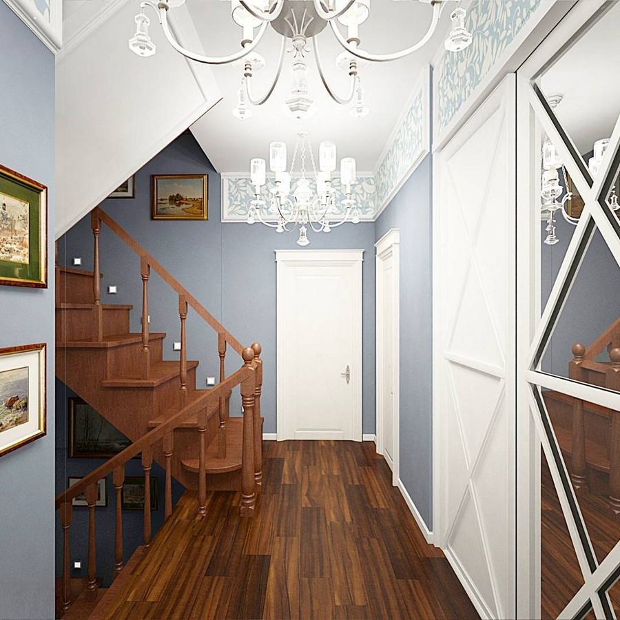10-eclectic-provence-and-classical-style-staircase-landing-interior-design-dark-brown-wooden-floor-white-doors-with-crosspieces-mirror-chandeliers-blue-walls-pictures