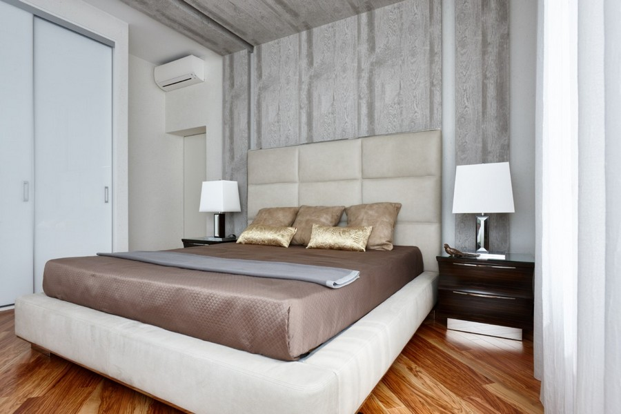 2-1-contemporary-style-interior-design-light-pastel-beige-brownish-gray-bedroom-nightstands-white-bedside-lamps-parquet-floor-diagonal-pattern-gray-wooden-panels-ceiling-decor-upholstered-headboard-wall-built-in-closet