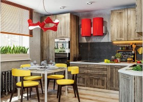 2-1-industrial-loft-style-bright-interior-design-with-red-and-yellow-accents-faux-cement-concrete-backsplash-double-cooker-hood-dining-table-chairs-kitchen-lamp-rough-wood-cabinets-blinds-built-in-hardware