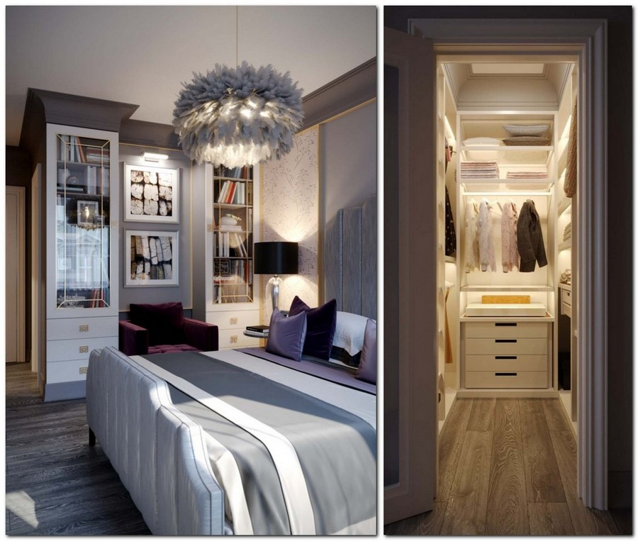 2-2-contemporary-style-bedroom-interior-design-beige-and-gray-Eichholtz-furniture-upholstered-bed-black-bedside-lamps-chandelier-reading-area-symmetrical-glass-bookcases-arm-chair-purple-walk-in-closet-curtain