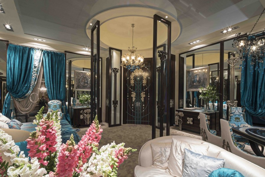 2-3-Medea-Liberty-collection-new-collection-of-contemporary-style-furniture-at-Salone-de-Mobile-Exhibition-Milan-2017-gorgeous-luxurious-bedroom-bed-blue-and-beige-glass-door-sofa-curtains