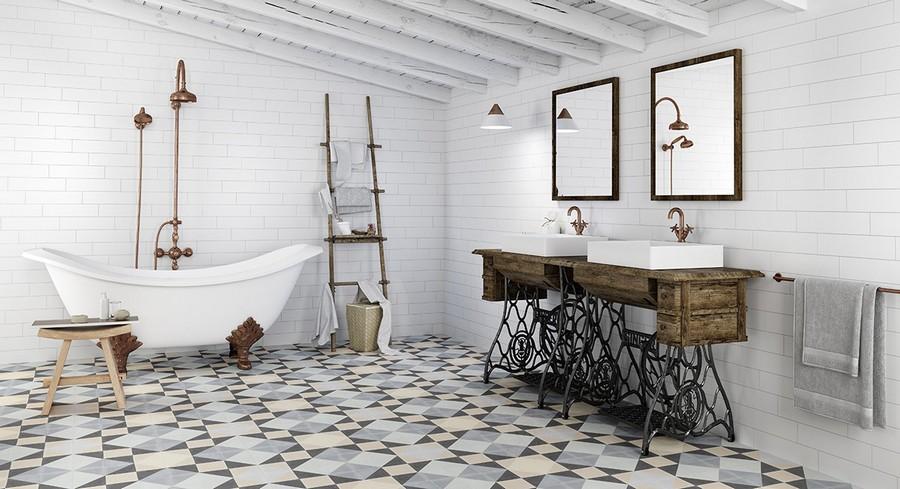 2-4-ceramic-tiles-in-bathroom-interior-design-white-brick-wall-tiles-colorful-floor-double-sink-wash-basin-vintage-style-vanity-unit-Apavisa-brand-collection-2017