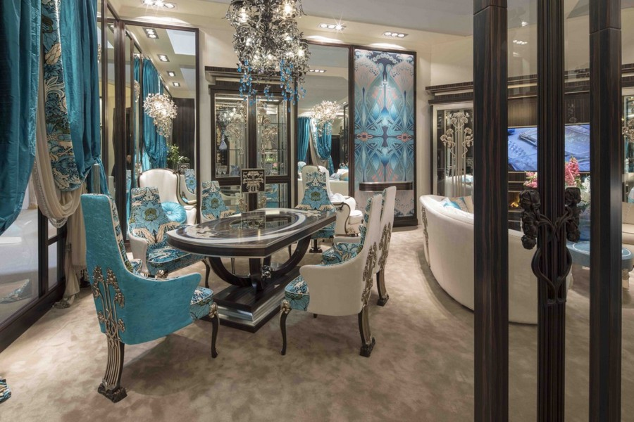 2-5-Medea-Liberty-collection-new-collection-of-contemporary-style-furniture-at-Salone-de-Mobile-Exhibition-Milan-2017-gorgeous-luxurious-dining-room-interior-design-table-chairs-set-blue-and-beige-glass-door-sofa-curtains