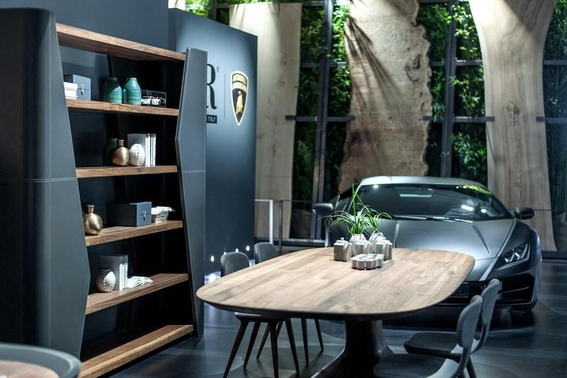 2-6-Riva-1920-new-collection-of-contemporary-style-furniture-at-Salone-de-Mobile-Exhibition-Milan-2017-Lamborghini-blue-and-gray-dining-room-set-wooden-table-chairs-shelves-open-racks
