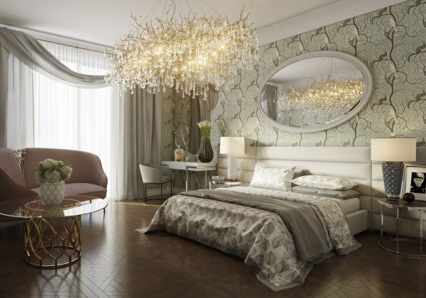 2-bedroom-interior-design-art-deco-style-beige-and-pale-pastel-green-kale-colors-big-Serip-chandelier-metal-coffee-tables-geometrical-nightstands-oval-mirror-dressing-table-arm-chair-bedside-lamps