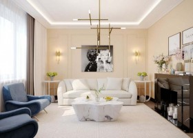 3-1-contemporary-style-living-room-interior-design-beige-walls-Eichholtz-furniture-white-sofa-marble-coffee-table-blue-arm-chairs-black-fireplace-brass-art-deco-chandelier-wall-lamps-sconces-wall-poster-art