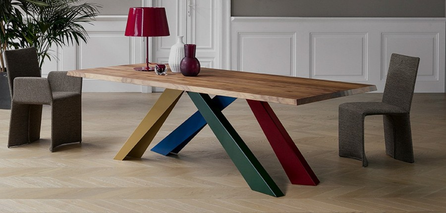 3-2-Bonaldo-new-collection-of-contemporary-style-furniture-at-Salone-de-Mobile-Exhibition-Milan-2017-dining-table-with-geometrical-sloped-multicolor-legs-red-blue-green-wooden-chairs