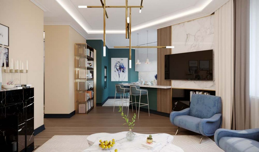 3-2-contemporary-style-living-room-open-concept-kitchen-interior-design-beige-walls-Eichholtz-furniture-marble-coffee-table-blue-arm-chairs-black-fireplace-brass-art-deco-chandelier-angled-wall-bar-table
