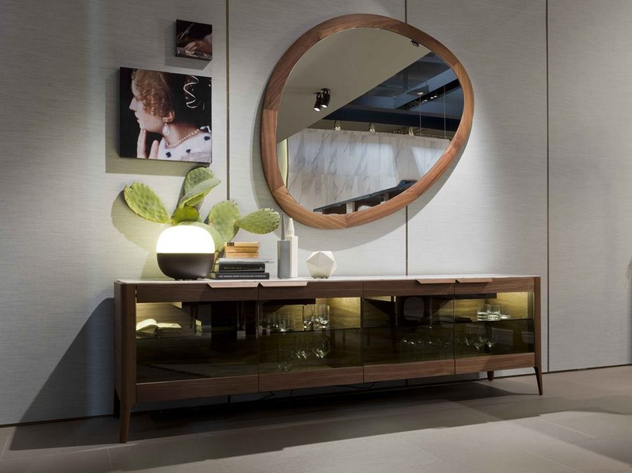 3-3-Porada-new-collection-of-contemporary-style-furniture-at-Salone-de-Mobile-Exhibition-Milan-2017-console-table-asymmetrical-mirror-frame-artworks